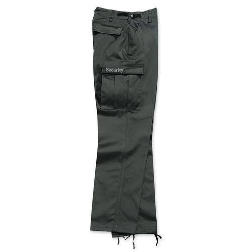 Nohavice SECURITY nápis na vrecku, ČIERNE