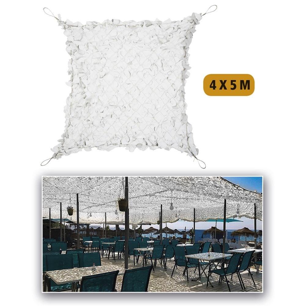 Sieť tieniaca plastová s oceľovým lanom BIELO-ŠEDÁ 4x5 m MIL-TEC® 14481707 L-11