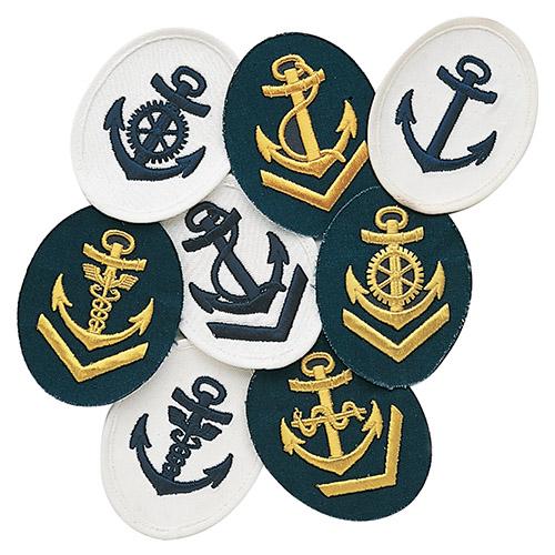 Nášivka námorných jednotiek NVA ovál s kotvou + V BIELA