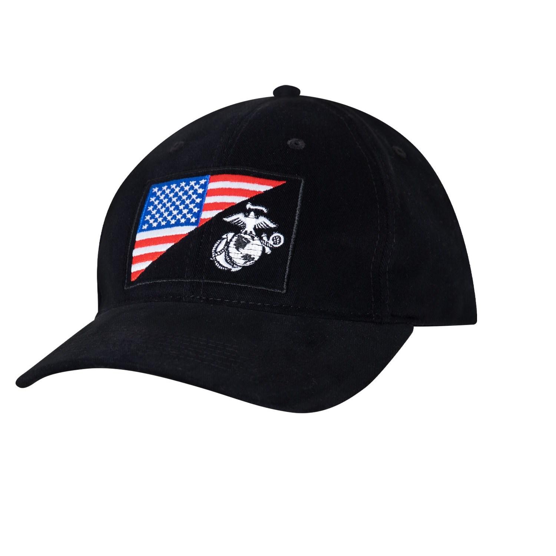 Čiapka s vyšitým znakom U.S.M.C. a US vlajky ČIERNA