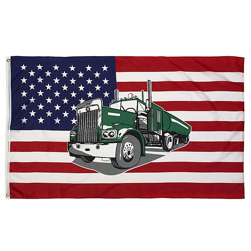 Vlajka USA s kamiónom TRUCK