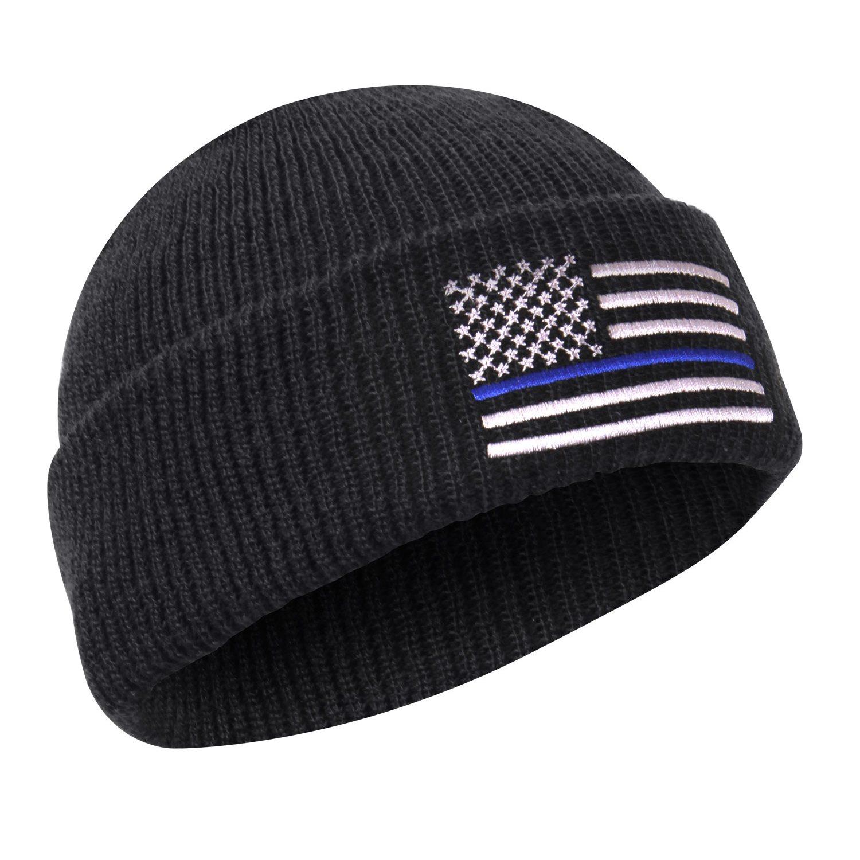 Čiapka DELUXE pletená US vlajka s modrou linkou ČIERNA