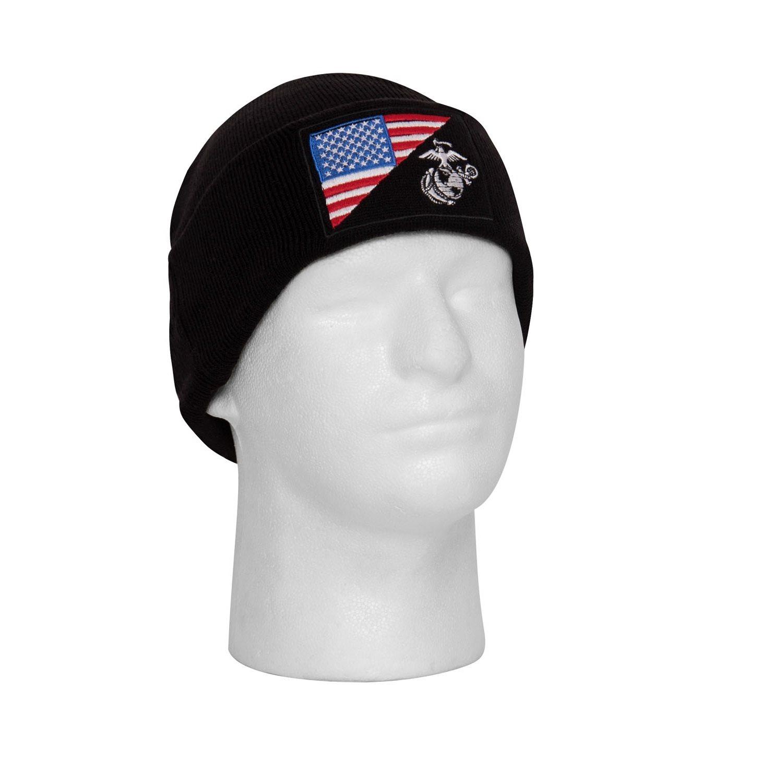 Čiapka WATCH vlajka USA/USMC pletená ČERNÁ