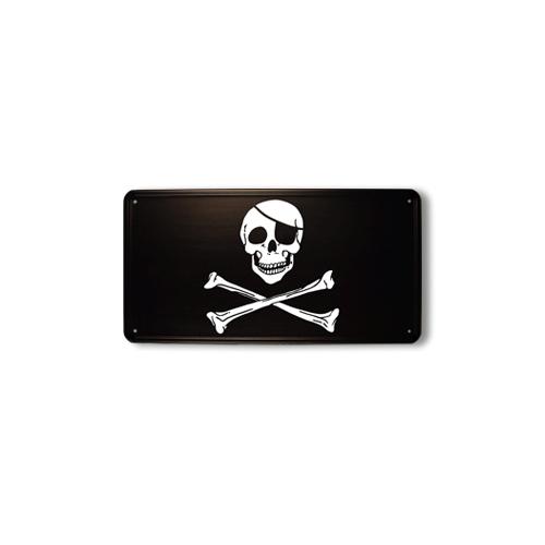 Ceduľa plechová pirátska lebka a prekrížené kosti