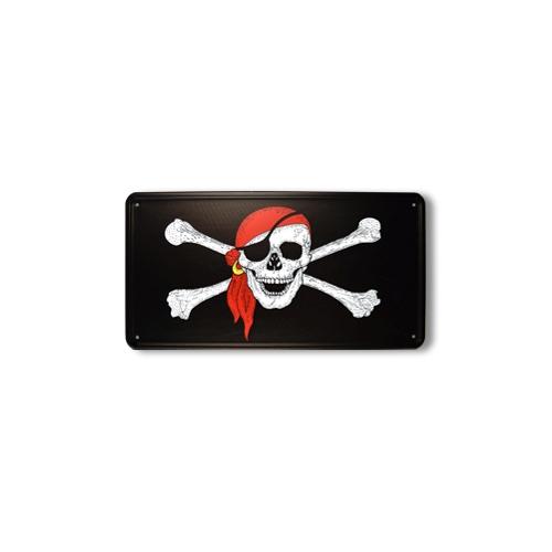 Ceduľa plechová pirátska lebka s šatkou