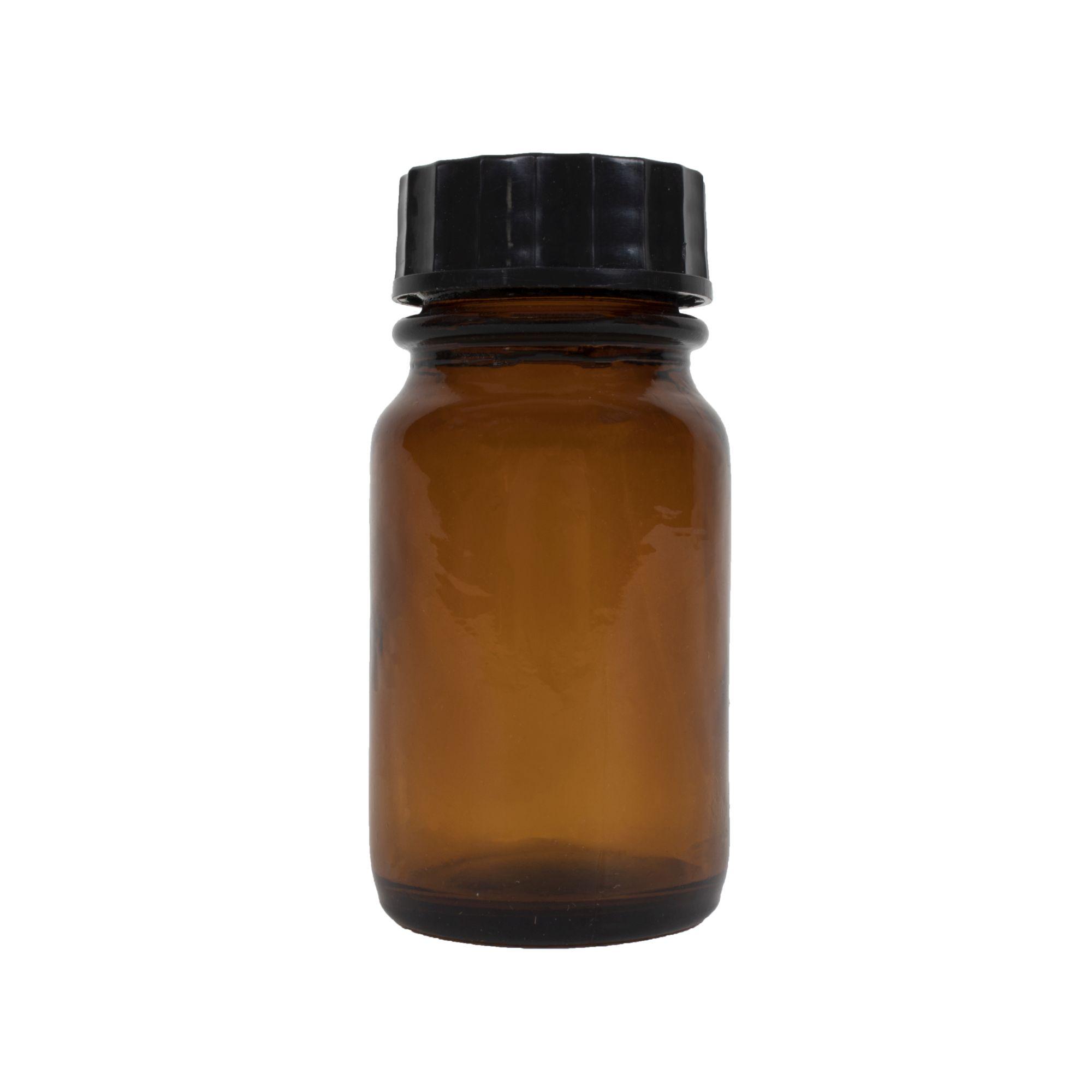Fľaštička sklenená 60 ml s plastovým čiernym viečkom