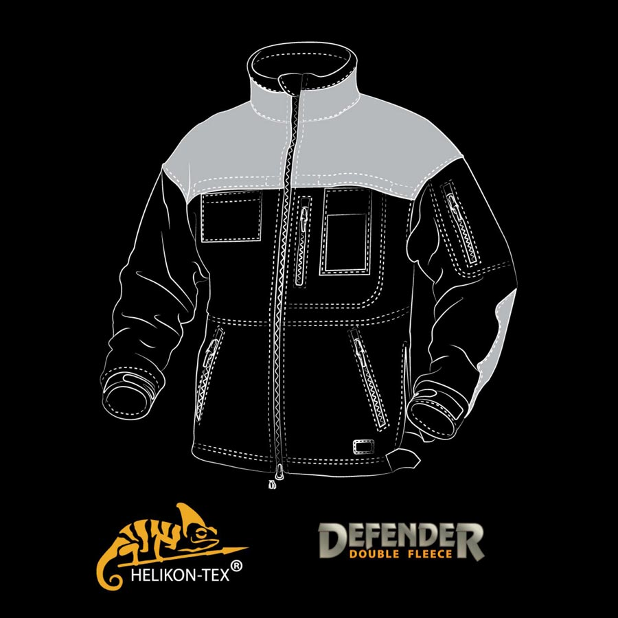 Bunda DEFENDER fleece ČIERNA Helikon-Tex® BL-DEH-HF-01 L-11