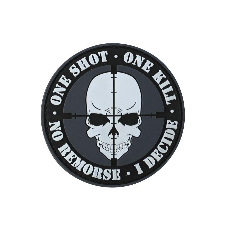 Nášivka ONE SHOT - ONE KILL plast ČIERNA