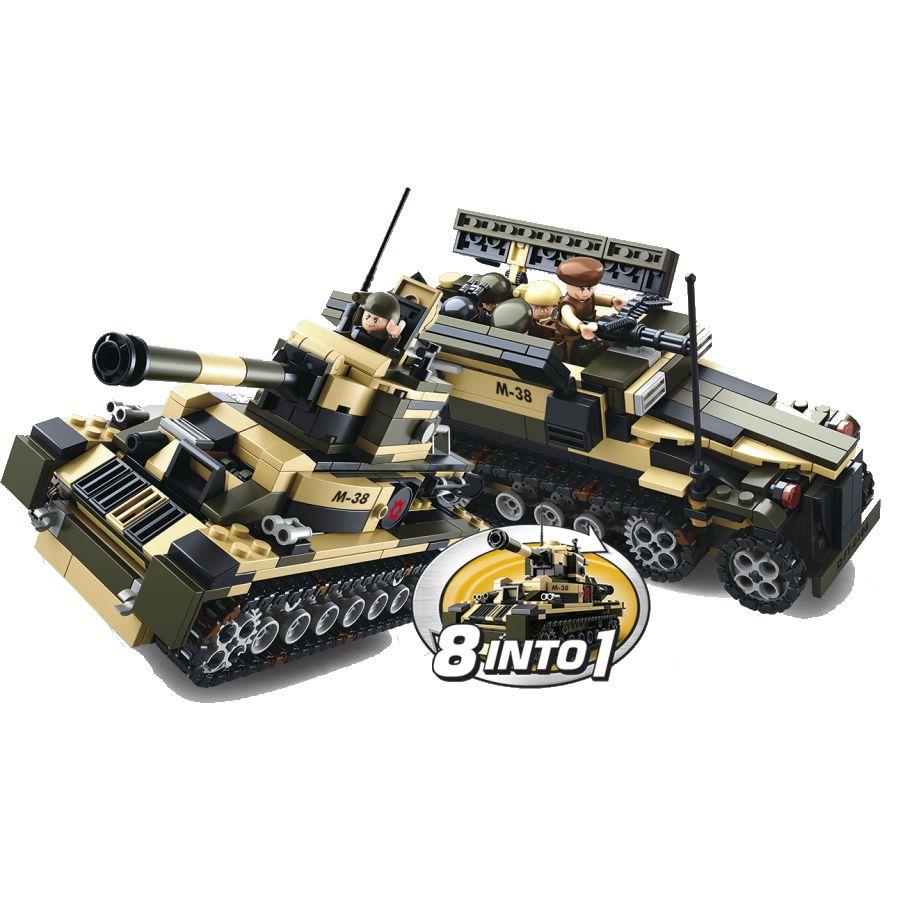 Stavebnica 8v1 ARMY vozidlá, čln, helikoptéra