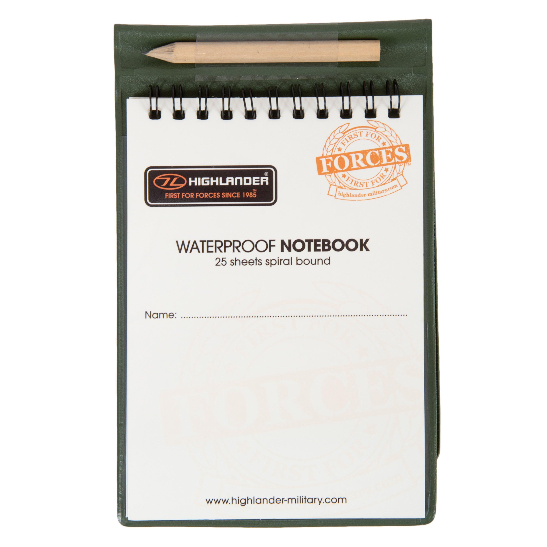 Blok/zápisník vodoodolný, vrátane ceruzky a podložky, 25 listov