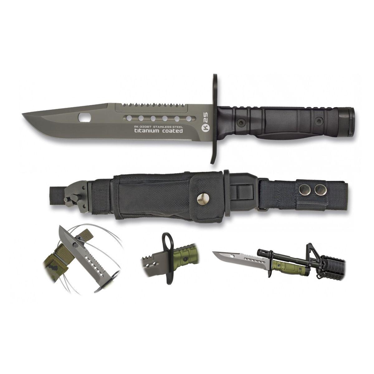 Nôž BAYONET K25 s puzdrom ČIERNY