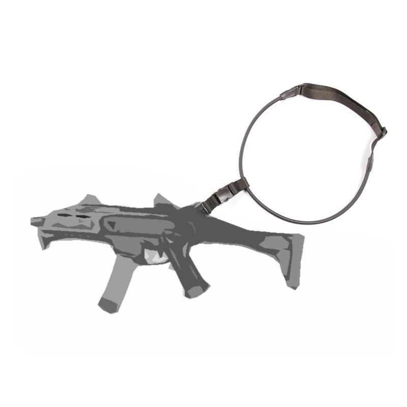 Popruh na zbraň 1-bodový elastický ČIERNY