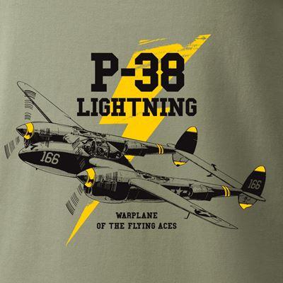 Tričko P-38 LIGHTNING ZELENÉ