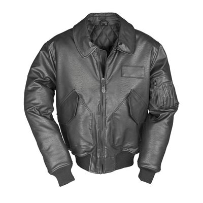 Bunda US CWU pilotná leather ČIERNA