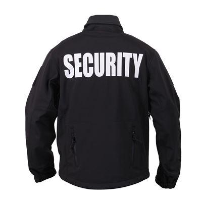 Bunda SECURITY s kapucňou softshell ČIERNA